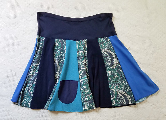 Blue with Paisley Twirly Skirt size XL