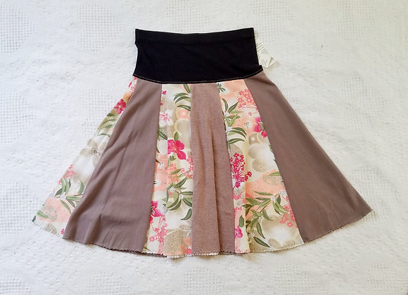 Taupe and Floral Twirly Skirt size XS