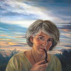Selbstportrait mit Pfeife