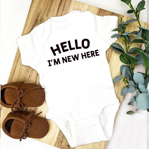 Hello I'm New Here Onesie