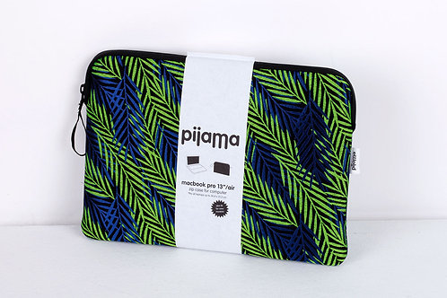 "Housse Pijama pour Mac book pro 13"" feuilles bleues"