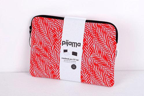 """Housse Pijama pour Mac book pro 13"""" Feuilles rouges"""