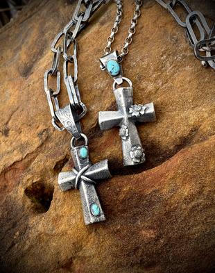 sand casted sterling crosses
