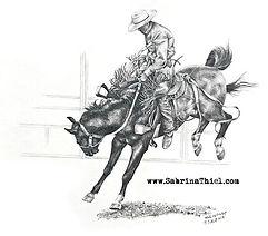 _Hang On Cowboy__11x14_ pencil drawing__