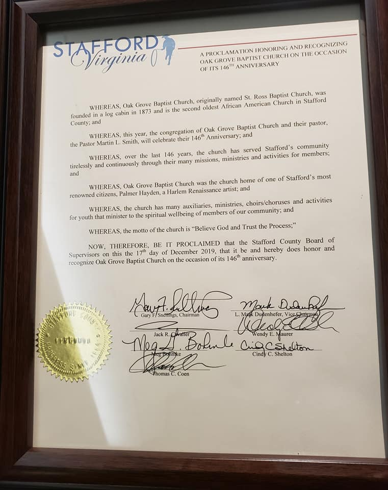 OGBC Receives Proclamation from Stafford County Board Of Supervisors