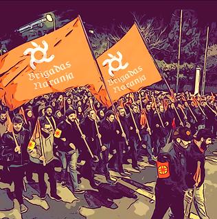 Brigadas Naranja desfilant