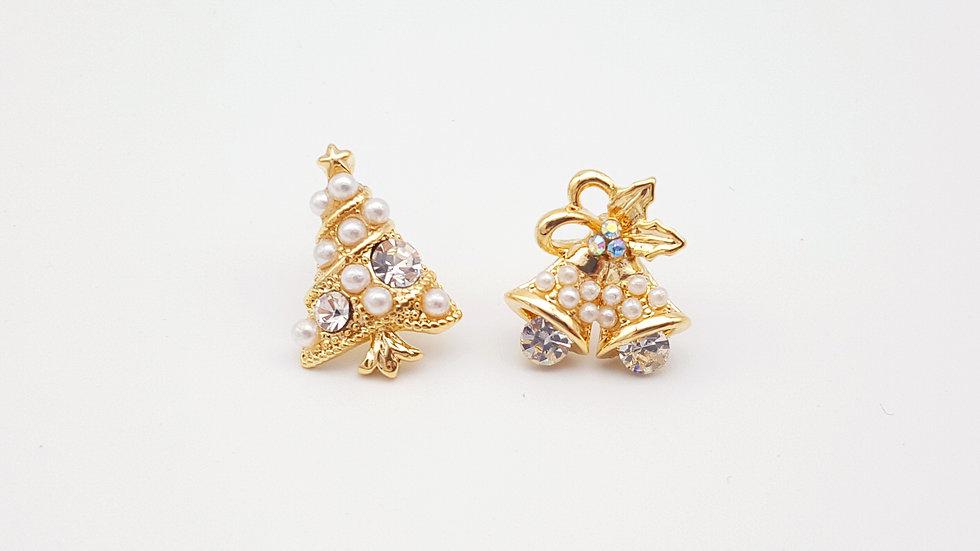 Pearl Christmas tree and bell stud earrings