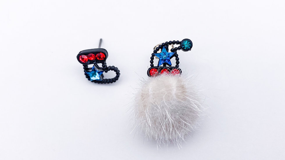 Christmas socks and hat pom pom earrings