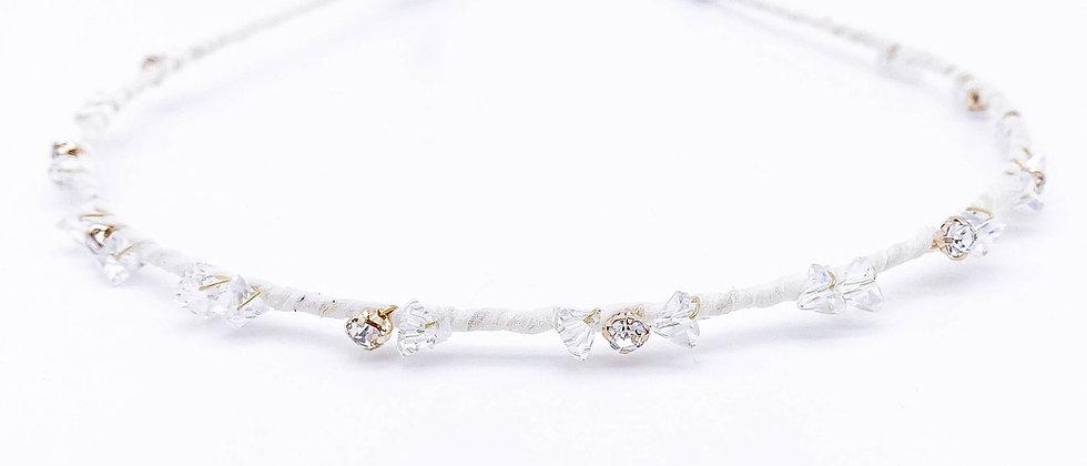 White Crystal Bowtie Hair Band