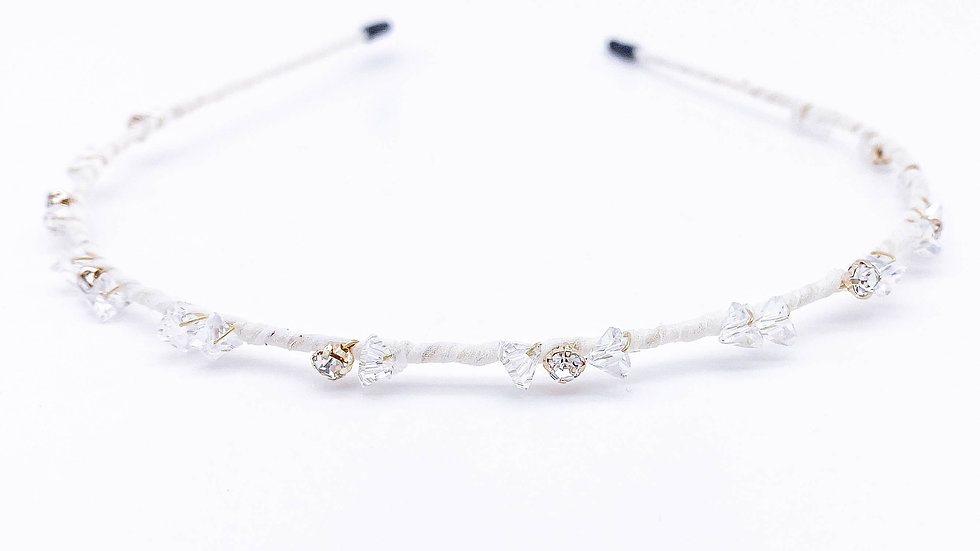 White Crystal Bowtie Hair Band