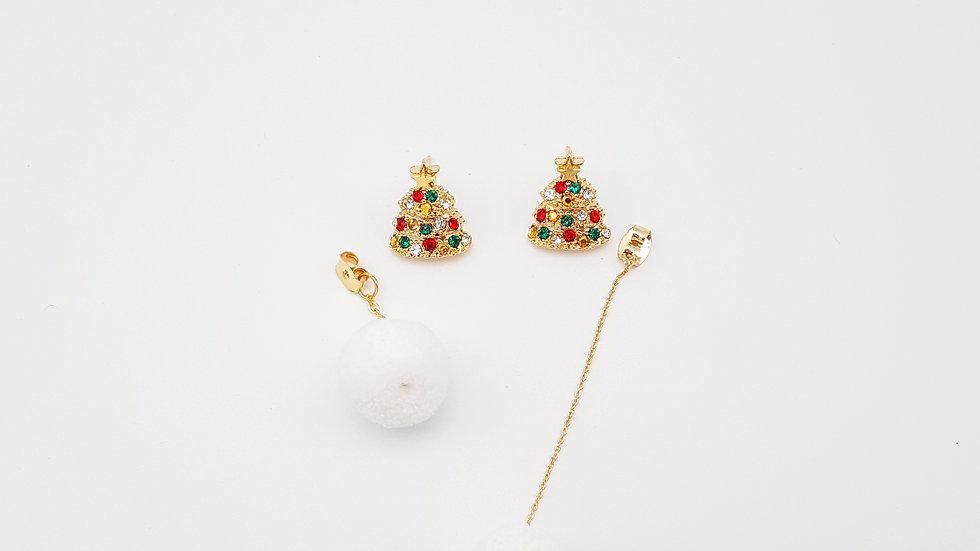 Gold Christmas tree with pom pom earrings