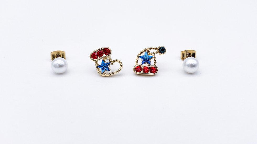 Christmas sock and hat pearl stud earrings