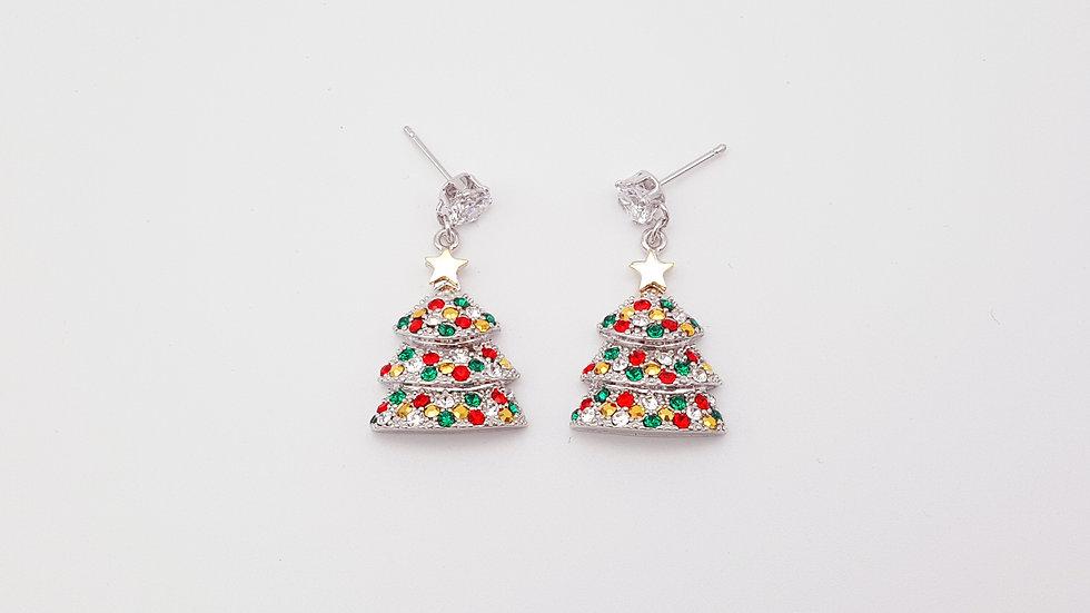Christmas tree with rhinestone earrings