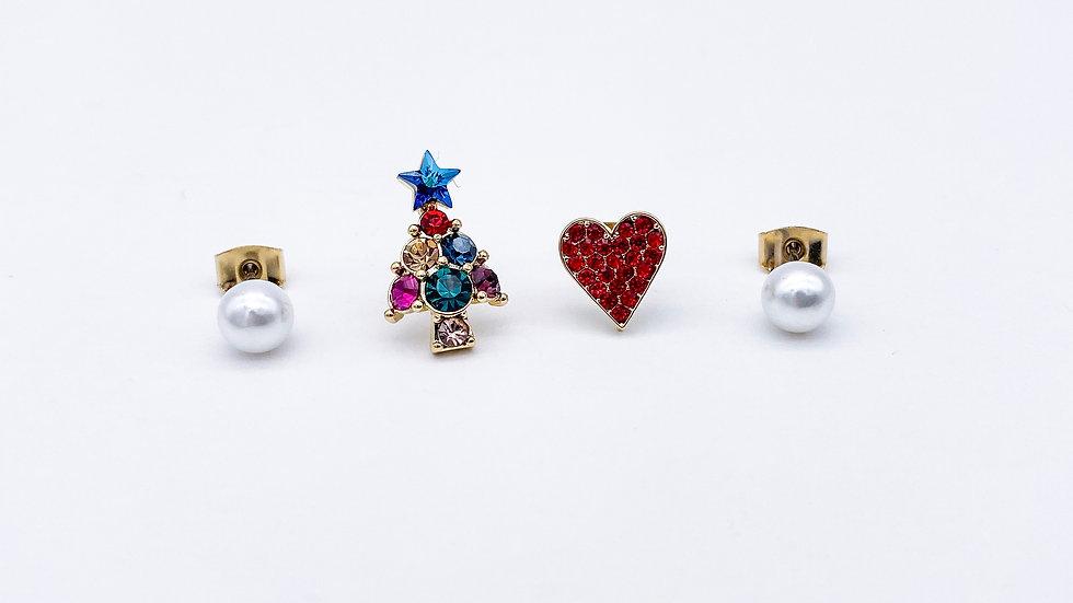 Christmas tree and heart pearl stud earrings