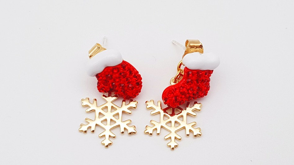 Christmas red sock and glove with snow flake earrings