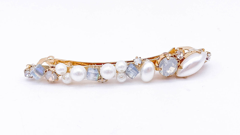 Blue Crystal Hair Clip with Pearl