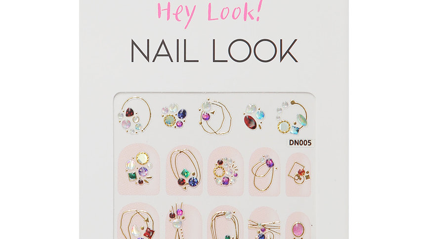 Color Stone with Round Line Nail Sticker