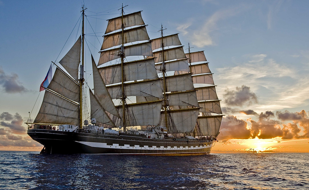 A sailing ship calm in the doldrums
