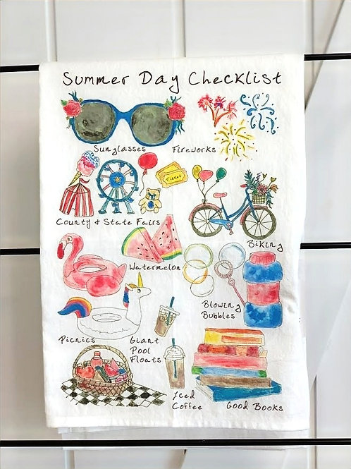 Summer Checklist Dish Towel by Avery's Home