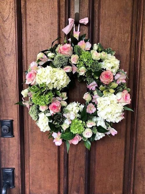 Welcome Baby Girl! - Fresh Flower Wreath