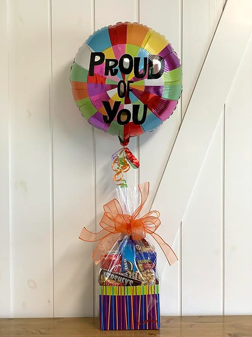 """""""Proud of You"""" Snack Box with Balloon"""