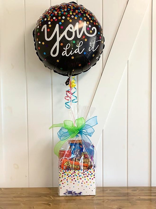 """""""You Did It"""" Snack Box with Balloon"""