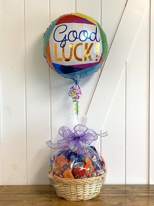"""""""Good Luck!"""" Snack Basket with Balloon"""