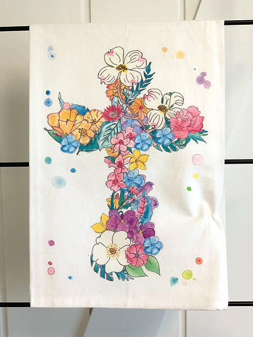 Cross of Flowers Dish Towel by Avery's Home