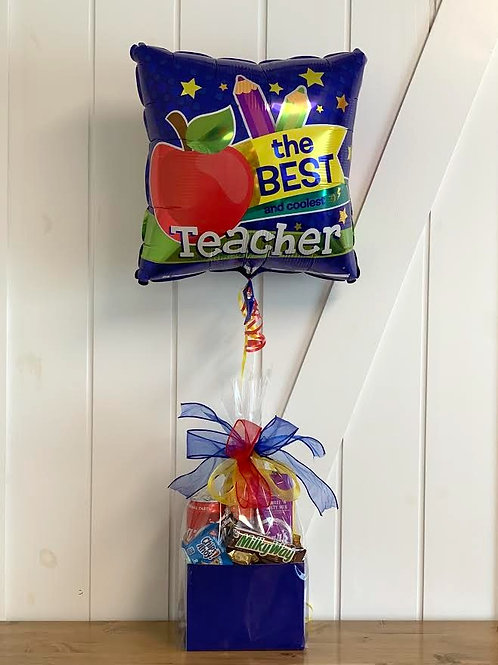 """""""The Best Teacher"""" Snack Box with Balloon"""