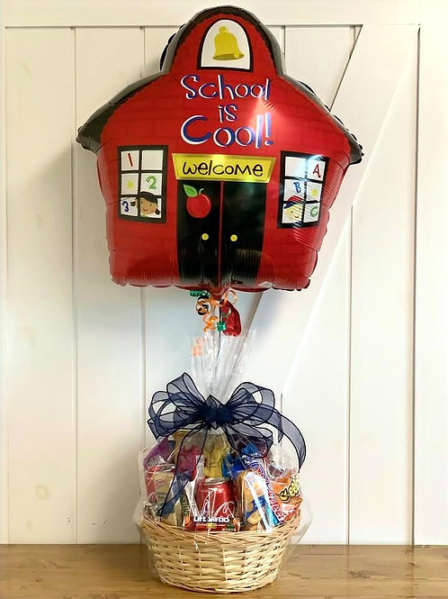 """""""School Is Cool"""" Snack Basket with Balloon"""