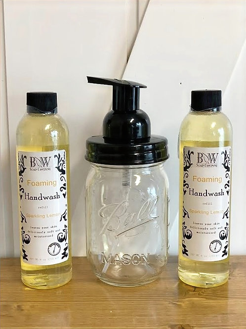 Foaming Hand Wash Mason Jar Gift Set - Sparkling Lemon