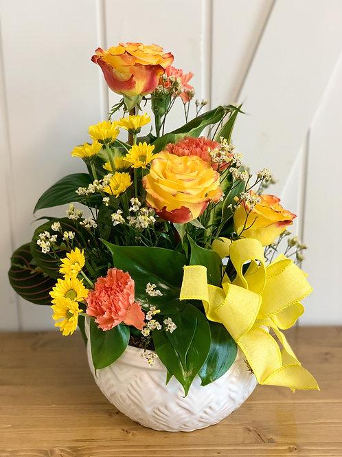 Medium Dish Garden with Fresh Flowers