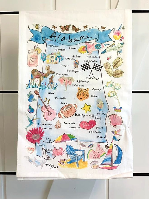 Alabama State Map Dish Towel by Avery's Home