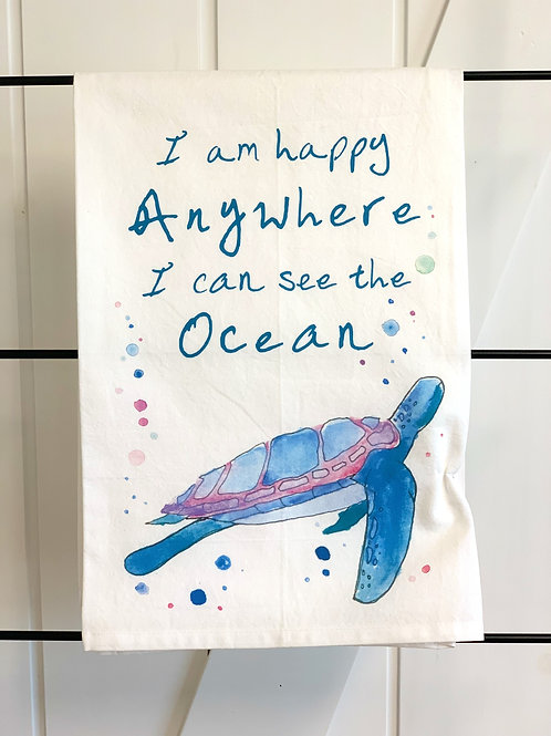 I am Happy Anywhere I can See the Ocean Dish Towel by Avery's Home