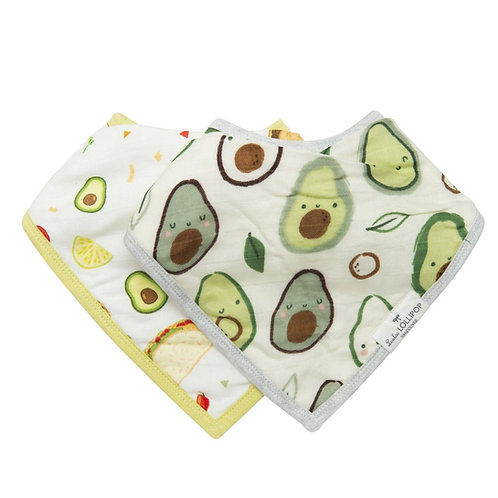Avocado/Taco Muslin Bib Set