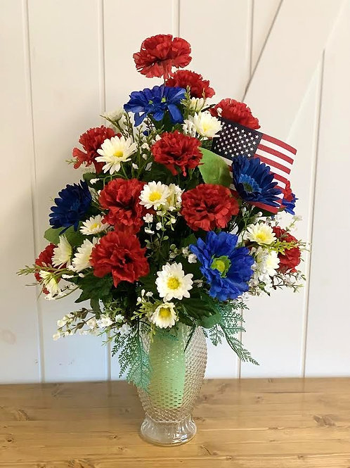 Patriotic Cemetery Vase