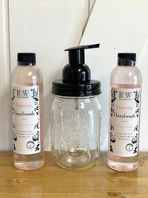 Foaming Hand Wash Mason Jar Gift Set - Pink Cotton Blossom