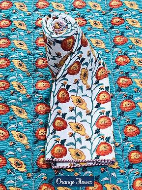 Orange Flower Hand-Block Print Cotton Reversible Single Bed Comforter