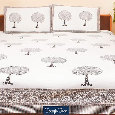 Tough Tree Hand Block Print Cotton Bed Sheet with 2 Pillow Cover