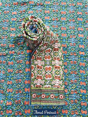 Floral Portrait Hand-Block Print Cotton Reversible Single Bed Comforter