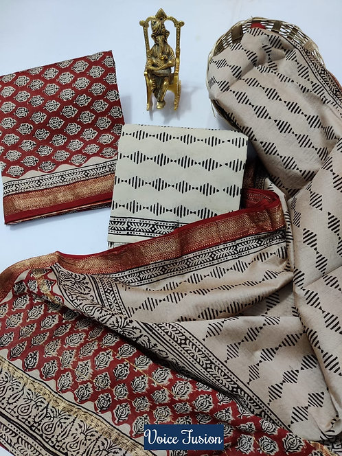 Voice Fusion Hand Block Printed Maheshwari Silk Suit with Zari Border