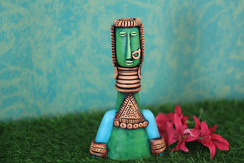 Green Base Terracotta Decorative Doll