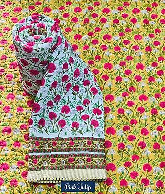 Pink Tulip Hand-Block Print Cotton Reversible Single Bed Comforter