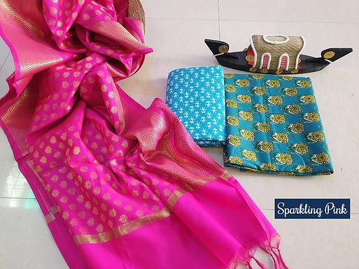 Sparkling Pink Hand Block Print  Cotton Suit With Exclusive Banarasi Dupatta