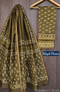 Royal Heena Hand Block Printed Chanderi Silk Suit