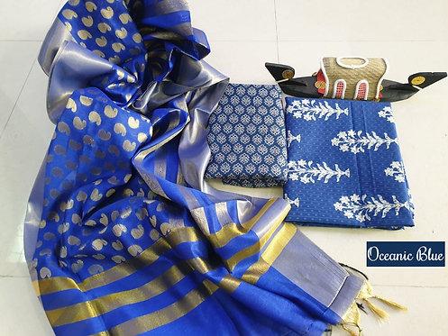 Oceanic Blue Hand Block Print  Cotton Suit With Exclusive Banarasi Dupatta