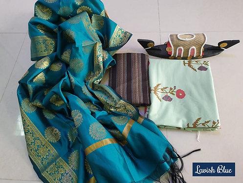 Lavish Blue Hand Block Print  Cotton Suit With Exclusive Banarasi Dupatta