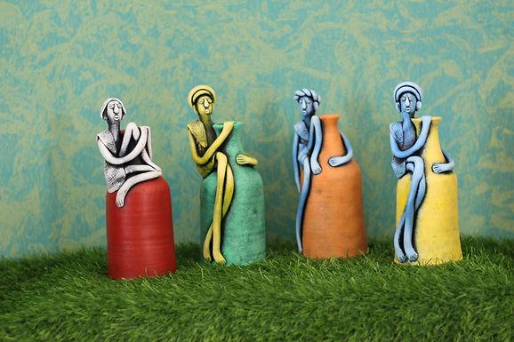 Terracotta Babla Vase Set Of 4