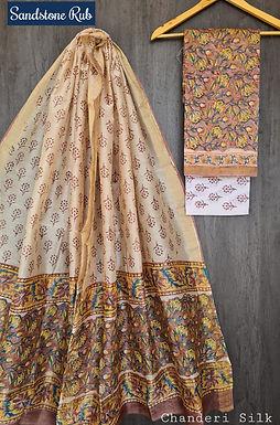 Sandstone Rub Hand Block Printed Chanderi Silk Suit