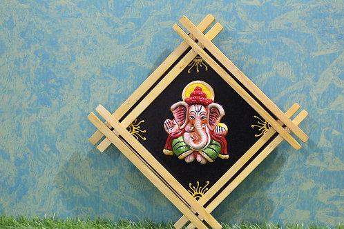 Terracotta 3D Double-Cross Frame Ganesha
